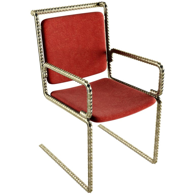 Gold Rebar Steel Chair With Red Velvet Upholstery For Sale