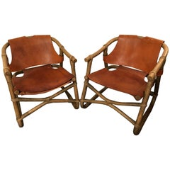 Pair of 1970 Swedish Rattan and Leather Armchairs