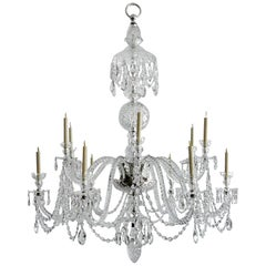 Massive Georgian Style Anglo-Irish Crystal Chandelier by Perry & Co.