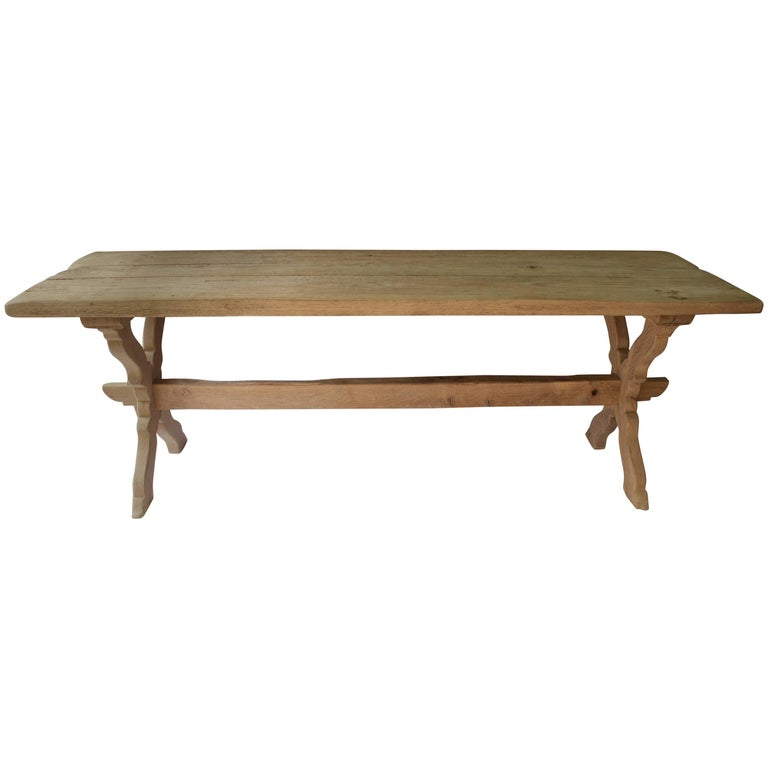 French 18th Century Monastery Oak Trestle Table