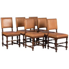 Set of Six Vintage Leather and Oak Dining Chairs