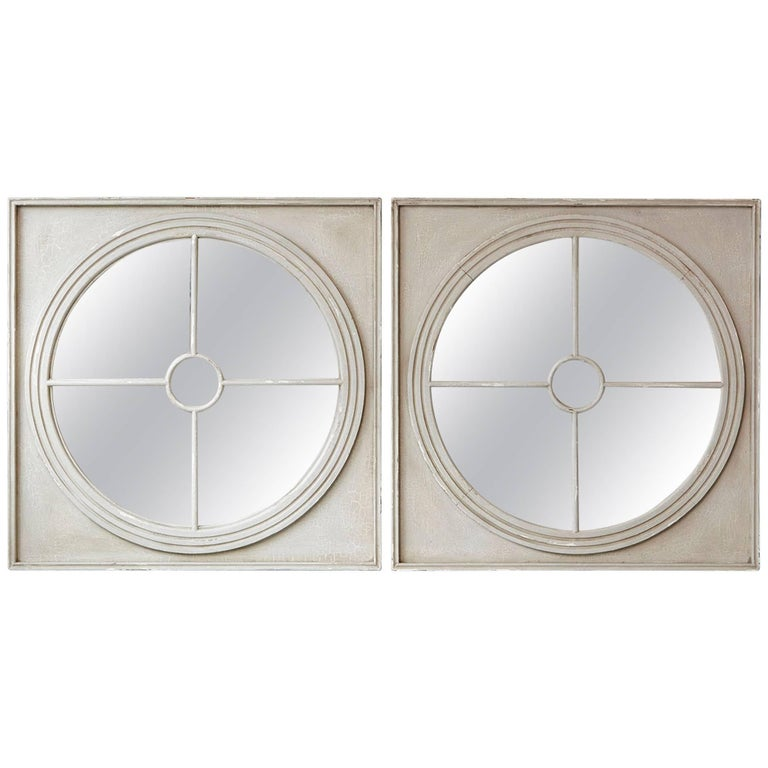 Large Pair of Round Architectural Mirrors in a Square Frame 1