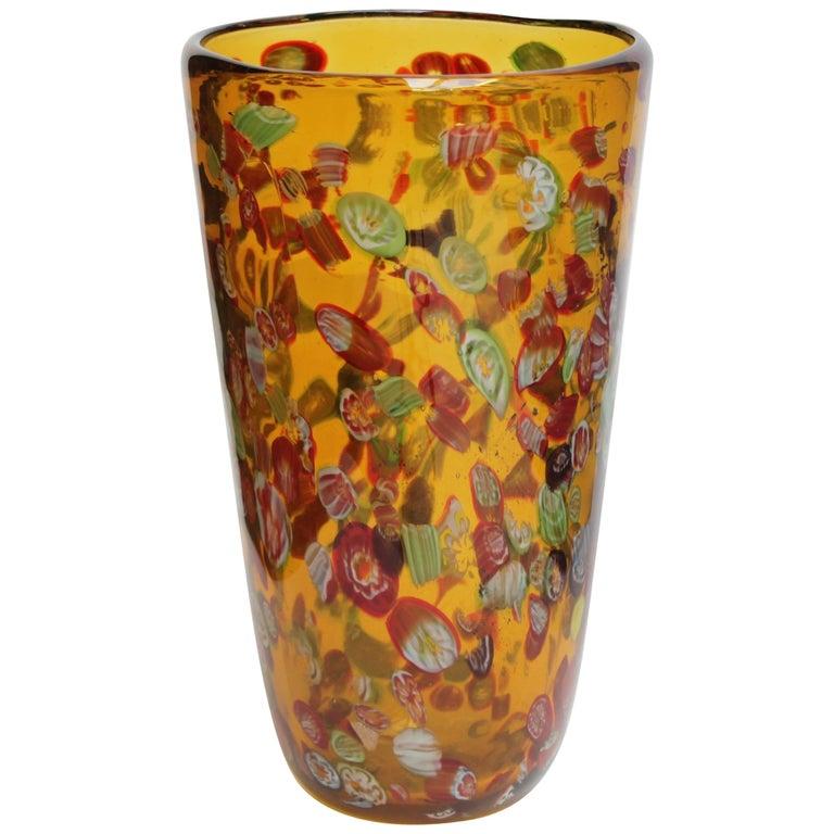 Large Murano Millefiori Vase At 1stdibs