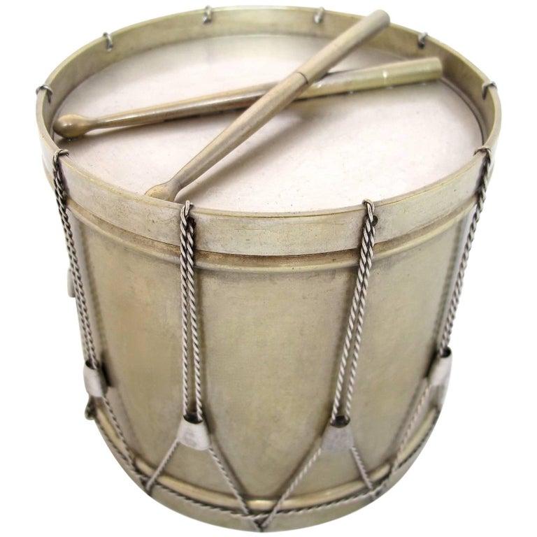 19th Century Drum Shape Silver Gilt Bronze Box 1