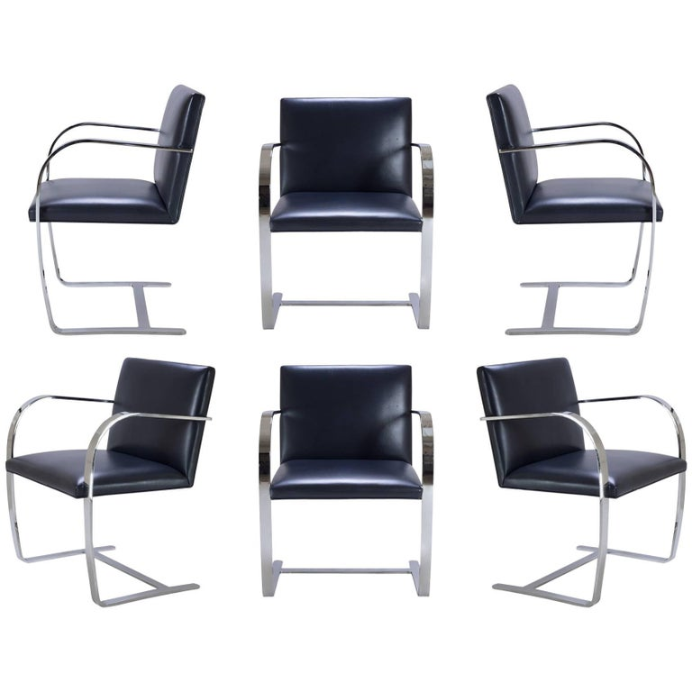 Brno Flat-Bar Chairs in Original Navy Leather, Set of Six