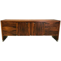 Rosewood and Chrome Office Credenza