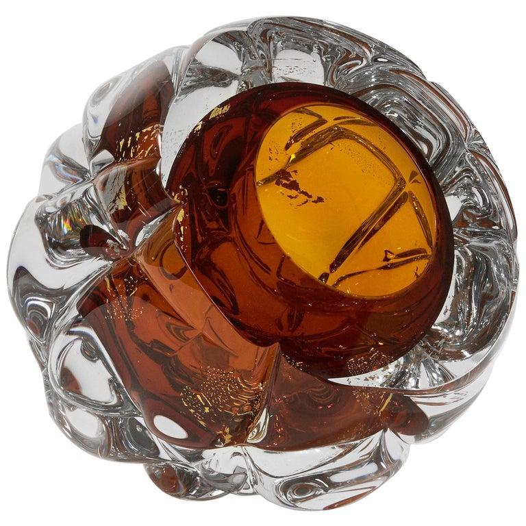 Modern Handmade Amber Glass and Gold Leaf 'Cut' Vase Made in Brooklyn