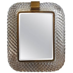 Murano Glass and Bronze Vanity Mirror Attributed to Venini