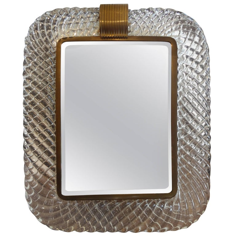 Murano Glass and Bronze Vanity Mirror Attributed to Venini For Sale