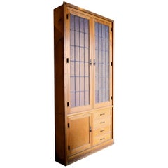 Oak Schoolhouse Cabinet with Leaded Glass Doors