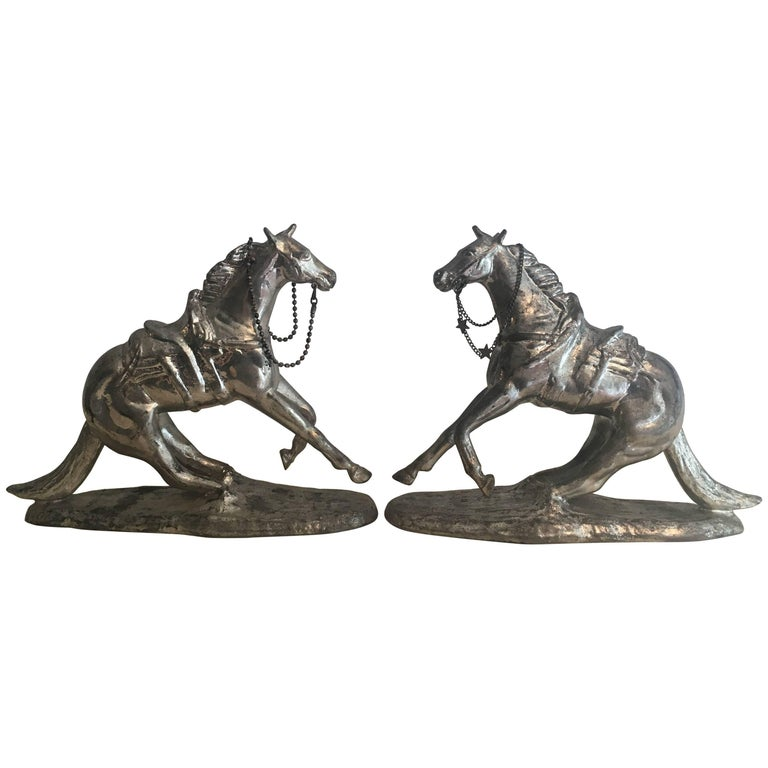 Pair of Metal Horse Bookends For Sale
