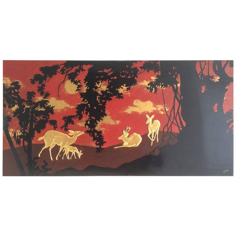 Lacquered Panel with Deer Decor