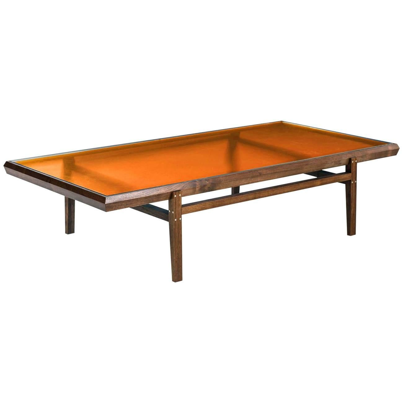 Delicieux Pintor Coffee Table, Walnut Frame With Stainless Steel Inlay, Orange Glass  Top