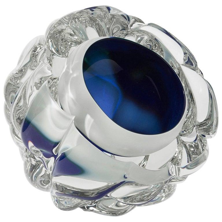 Modern Handmade Blue and White Glass and Gold Leaf 'Cut' Vase Made in Brooklyn