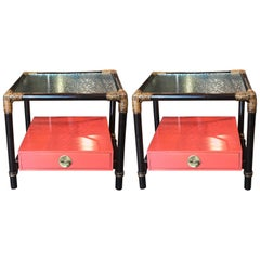 Modern Pair of Faux Bamboo Orange Lacquered Nightstands with Floating Drawer