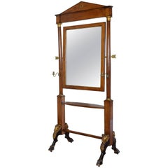 Italian, Lucca Empire Walnut Brass & Giltwood Dressing Mirror Early 19th Century