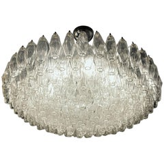 Poliedri Chandelier, Carlo Scarpa for Venini, Clear, Murano, over 180 Elements