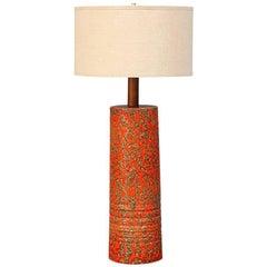 Midcentury Lava-Glazed Ceramic Table Lamp