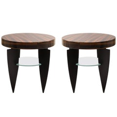 Memphis Style Zebrawood, Glass and Steel Side Tables by Pace