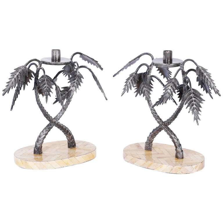 Mid-Century Pair of Silvered Metal Palm Tree Candleholders