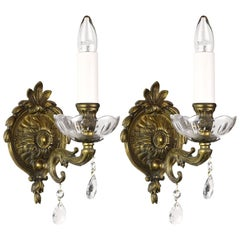 Brass Single Candle Sconce with Hanging Crystals, Two Available