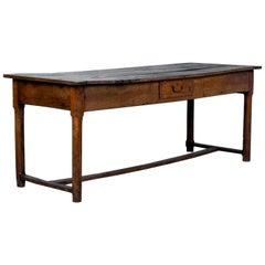 Antique English Country Oak Farm Table with Unique Storage