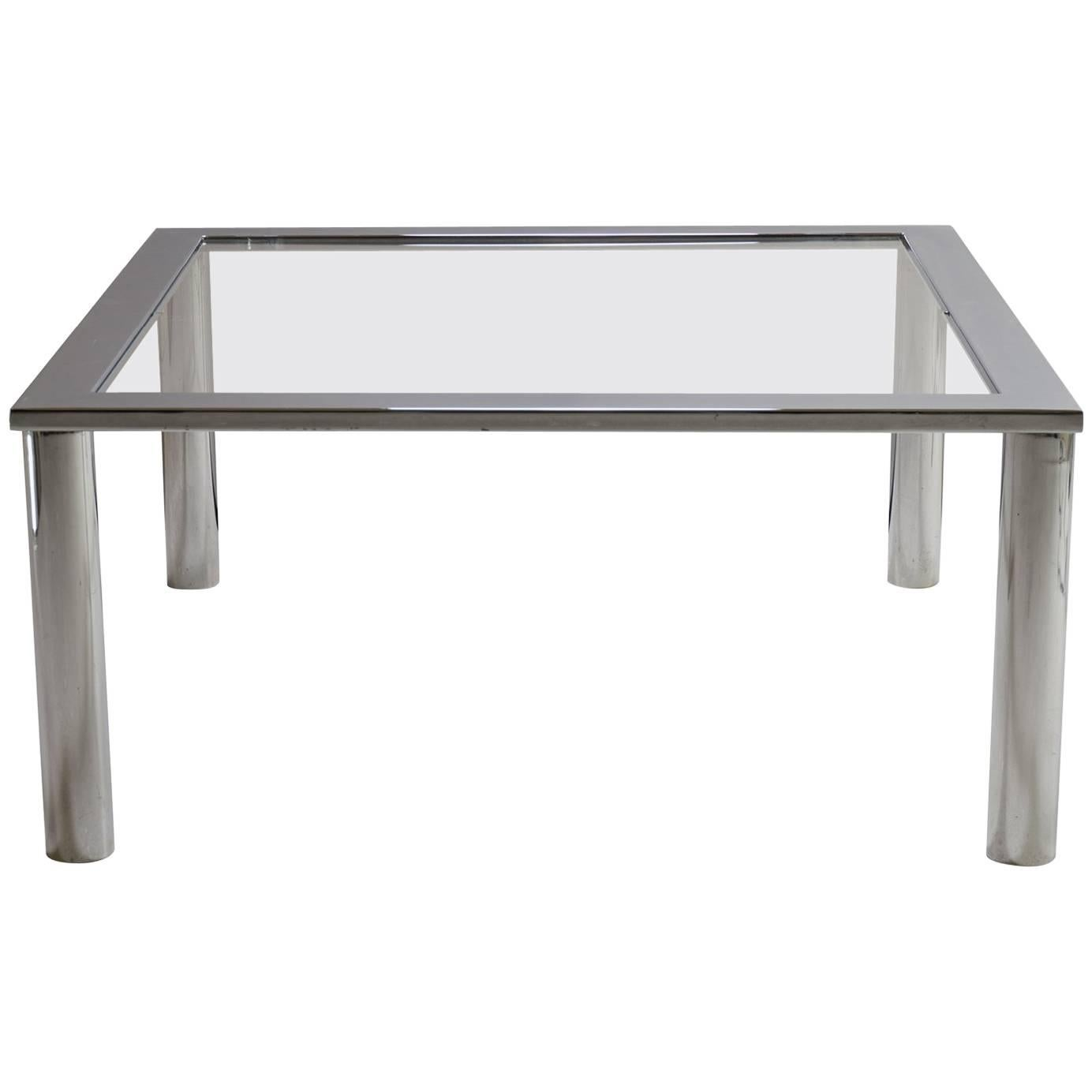 Chrome Cocktail Table in the Style of Pace