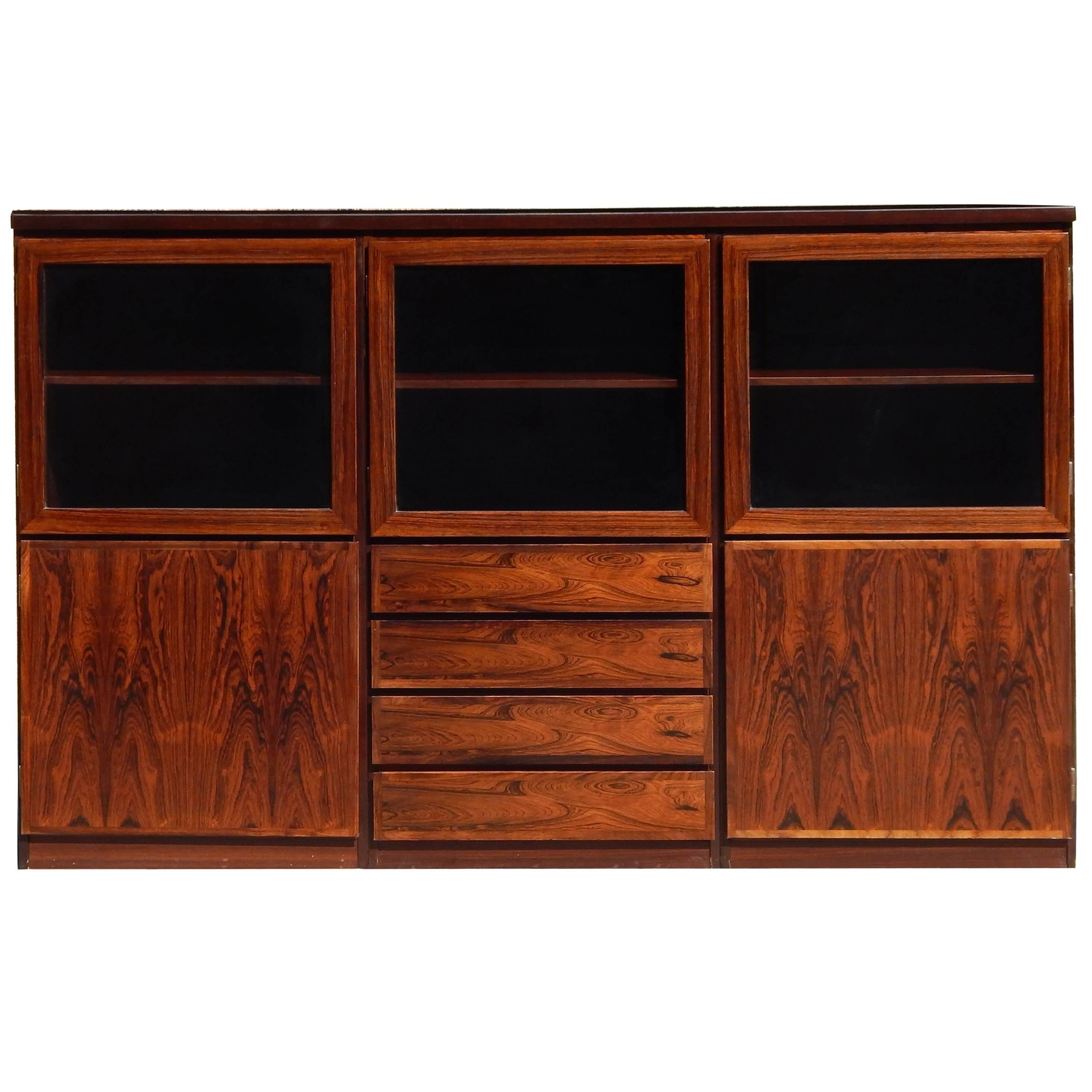 gorgeous rosewood vintage danish modern display cabinet by scanflex 1