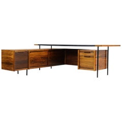 Rare Sven Ivar Dysthe 1960s Executive Desk & Sideboard for Dokka, Leather