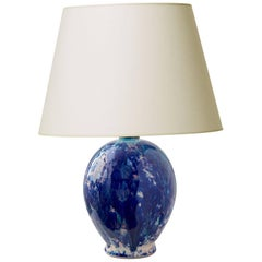Ebullient Art Deco Table Lamp in Vivid Indigo, Cerulean and Violet by Primavera
