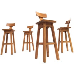Set of Four Scandinavian Solid Pine Wood Barstools, Style of Rainer Daumiller