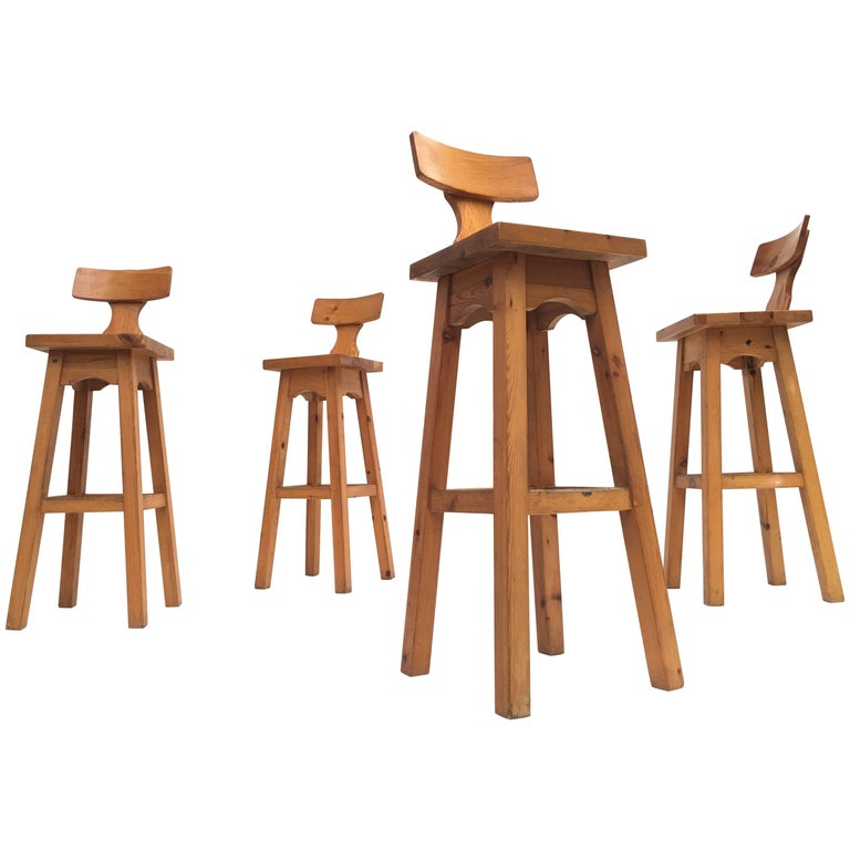 Set of Four Scandinavian Solid Pine Wood Barstools, Style of Rainer Daumiller 1