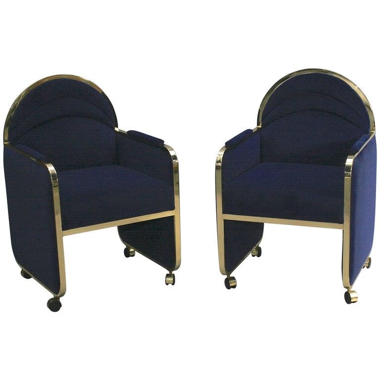 Pair of Design Institute America Baughman Style Brass & Blue Velvet Club Chairs