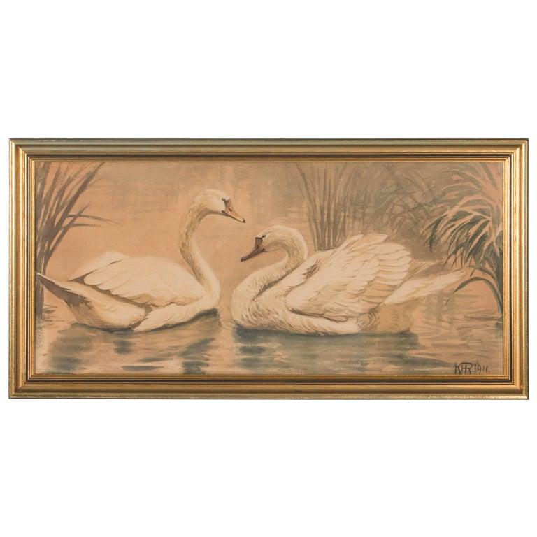 Original Antique Danish Watercolor Painting of Swans