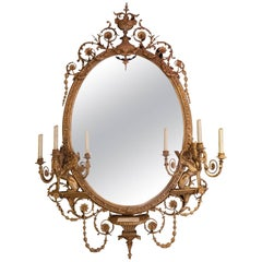 19th Century Adams Style Girandole Giltwood Oval Mirror
