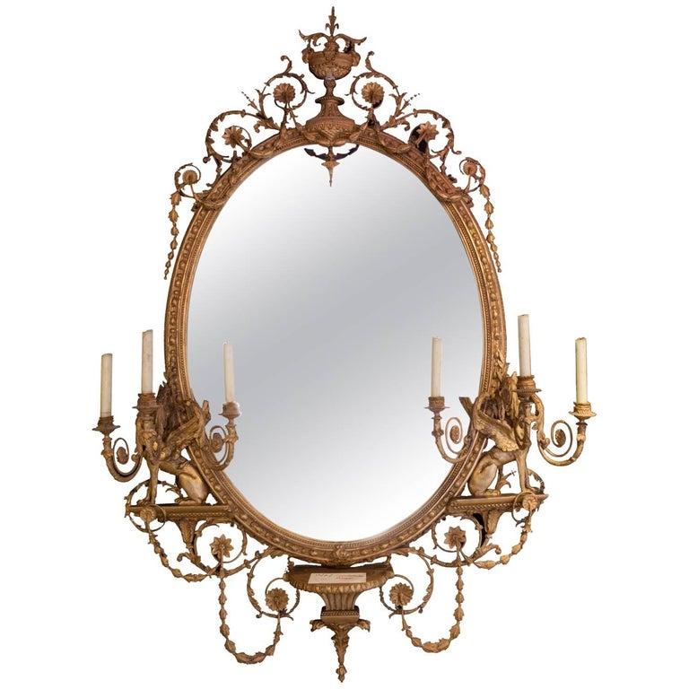 19th Century Adams Style Girandole Giltwood Oval Mirror