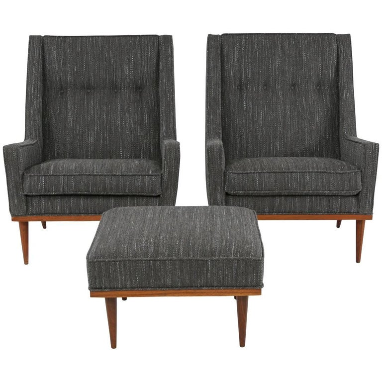 Pair of Milo Baughman for James Lounge Chairs and Ottoman