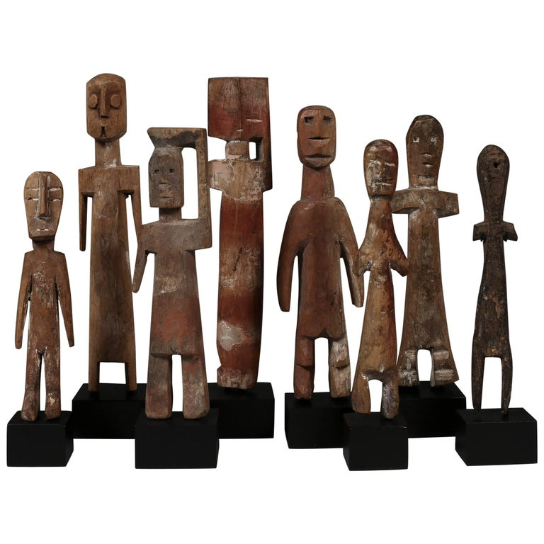 20th Century Collection of Doll like Ancestor Figures Adan Culture Ghana Africa