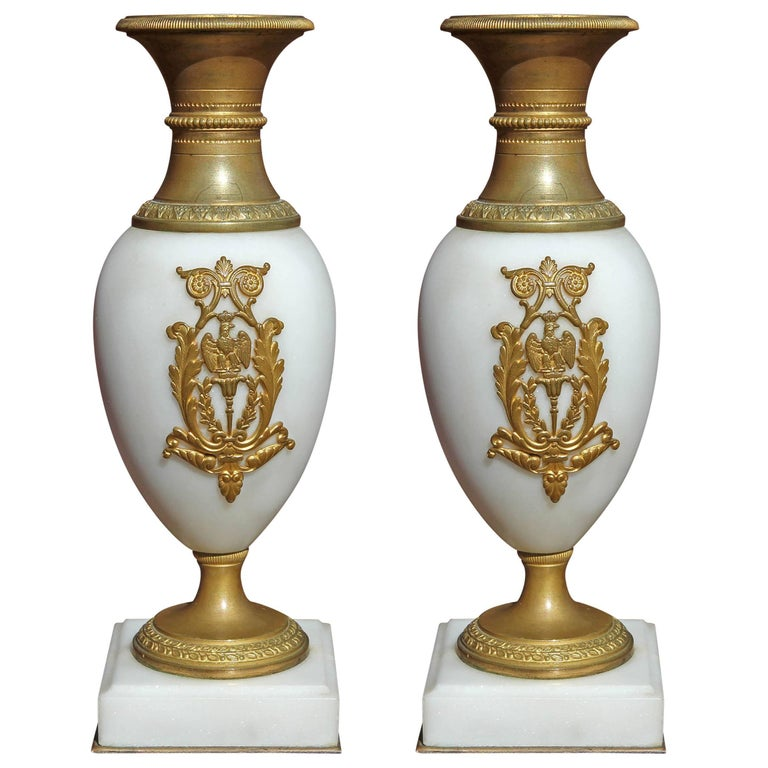 Pair of Fine French Empire Marble and Gilt Bronze Diminutive Urns