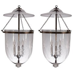 Pair of Large 19th Century English Bell Jar Lanterns with Grape Etching