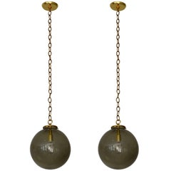 Pair of Smoked Glass Midcentury Globe Lights