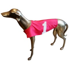 Commanding, Large-Scale Midcentury Brass Greyhound with Racing Jacket, Italy