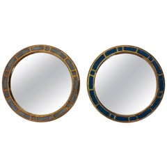 Francois Lembo Pair of Ceramic Mirrors, Midcentury Vallauris, France, 1960s