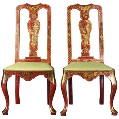 Pair of Queen Anne Style Chinoiserie Side Chairs