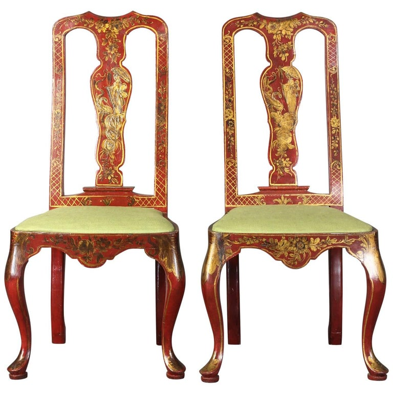 Pair of Queen Anne Style Chinoiserie Side Chairs For Sale