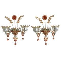 Pair of Venetian Glass Sconces, circa 1930