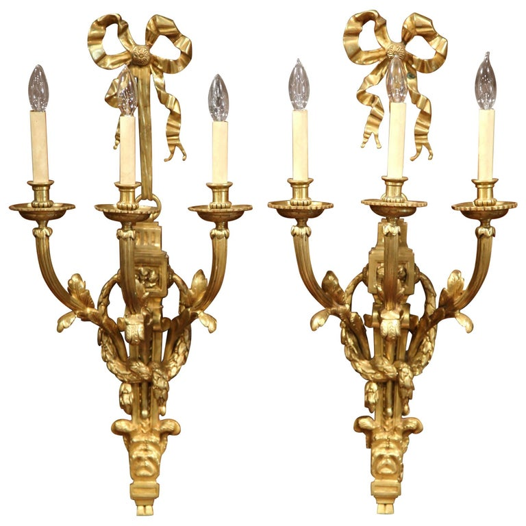 Large Bronze Wall Sconces : Large Pair of French Louis XVI Gilt Bronze Three-Light Wall Sconces For Sale at 1stdibs