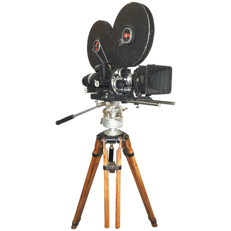 Mitchell Mid-20th Century Motion Picture Cinema Movie Camera on Vintage Tripod