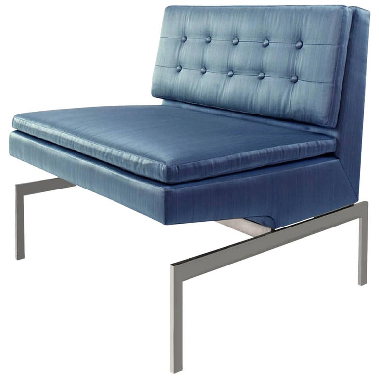 Mancini Chair with Nickel Base and Blue Silk Strié