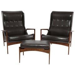 Ib Kofod Larsen Leather and Teak Lounge Chairs and Ottoman
